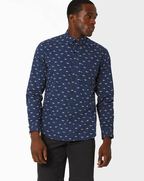Cotton Slim Fit Shirt By JOHN PLAYERS ( Blue ) - 440735863004