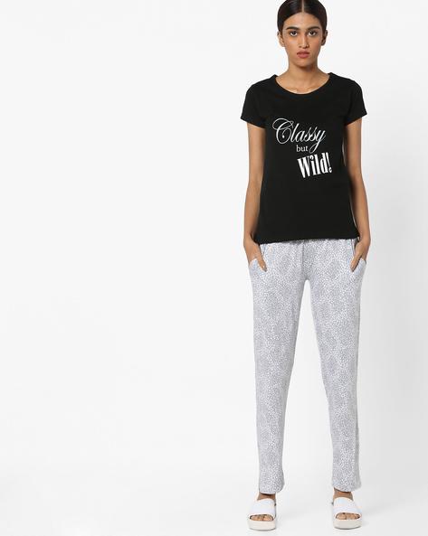 Graphic Lounge T-shirt With Pyjama Set By Clovia ( Grey )