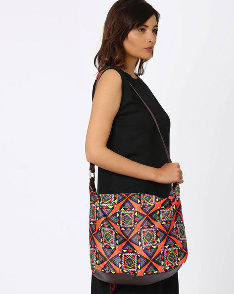 Digital Printed Polysuede Digital Printed Polysuede Shoulder Bag By Noorani Biswas ( Multi )