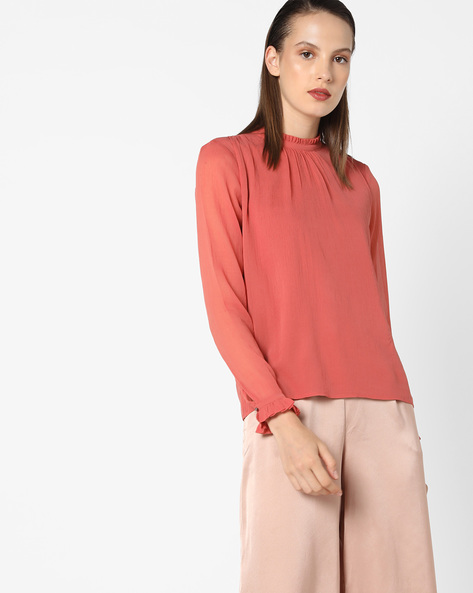 High-Neck Top With Frills By Vero Moda ( Lightred )
