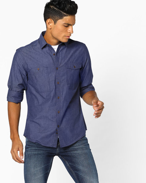 Slim Fit Shirt With Elbow Patches By AJIO ( Blue )