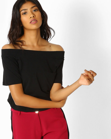Off-Shoulder Top With Chest Pocket By Vero Moda ( Black )