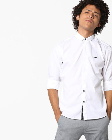 Cotton Shirt With Slim Collar By WRANGLER ( White )