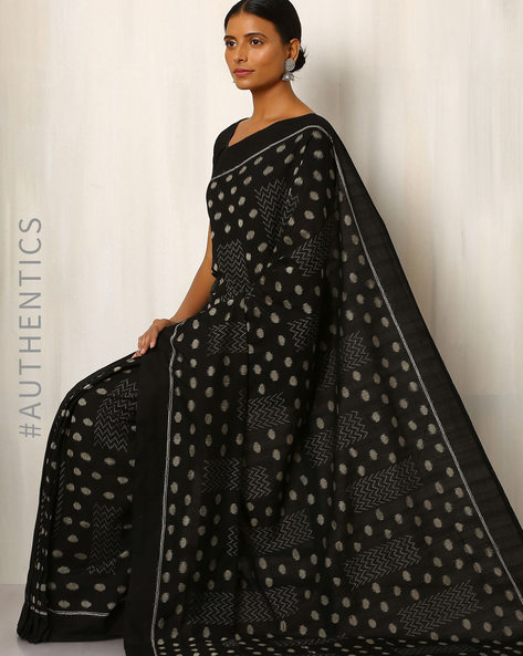 Handwoven Sambalpuri Ikat Cotton Saree By GoCoop ( Black )