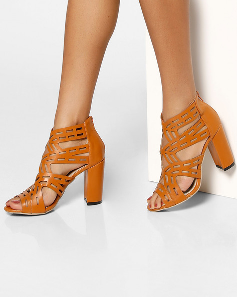 Laser-Cut Heeled Sandals By MFT Couture ( Tan )