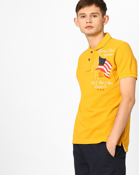 Slim Fit Polo T-shirt By US POLO ( Gold )