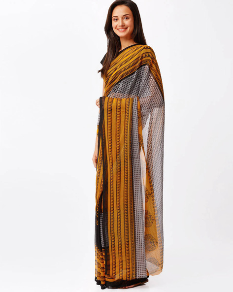 Printed Faux Georgette Saree By Florence ( Yellow )