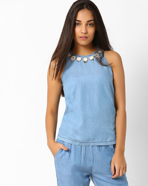 Embellished Sleeveless Top By CHEMISTRY ( Blue )