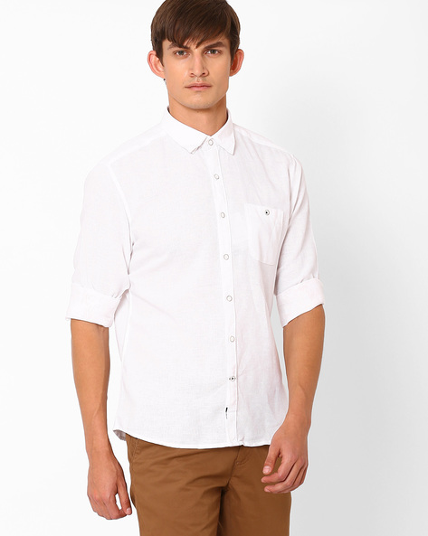 Trim Shirt With Curved Hem By NETPLAY ( White )