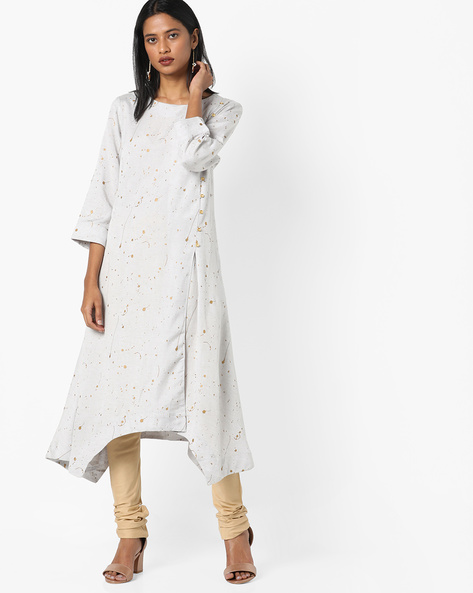 Splatter Print A-line Kurta By Project Eve IW Casual ( Grey )