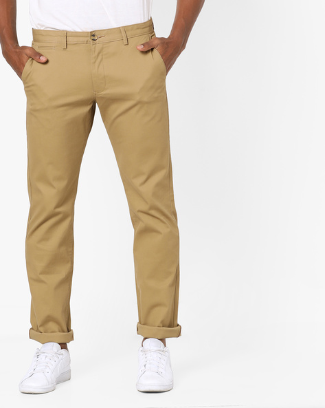 Slim Fit Flat-Front Trousers By BASICS ( Khaki )