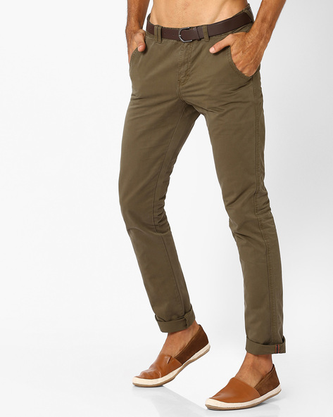 Belted Chino Slim Trousers By NETPLAY ( Olive )