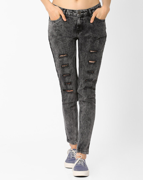 Slim Fit Distressed Jeans By RIO ( Medgrey )