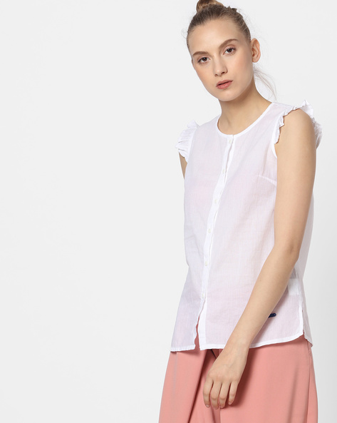 Button-Front Top With Ruffle Sleeves By Pepe Jeans ( White )