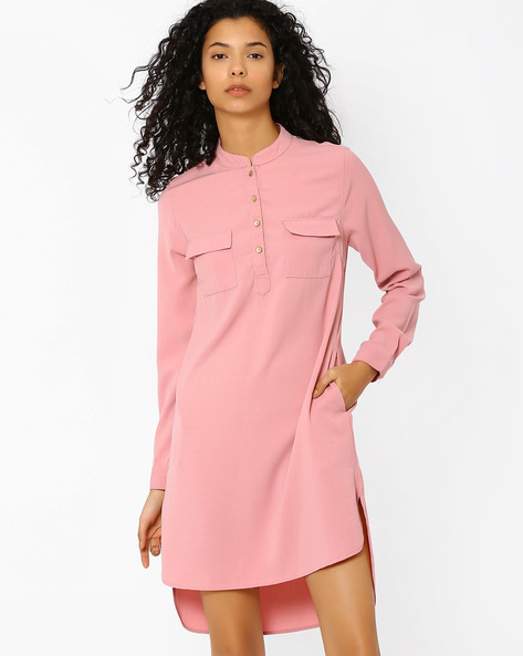 Shirt Dress With Patch Pockets By AJIO ( Lightpink )