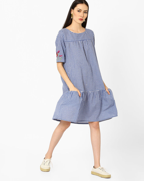 Checked Dress With Embroidery By AJIO ( Blue )