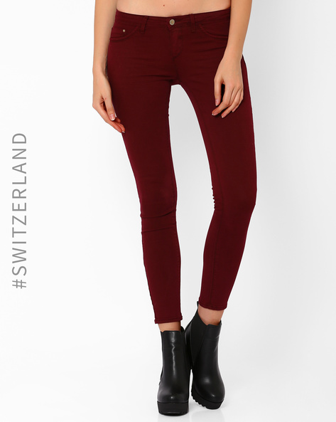 Ankle-Length Skinny Fit Trousers By TALLY WEiJL ( Wine )