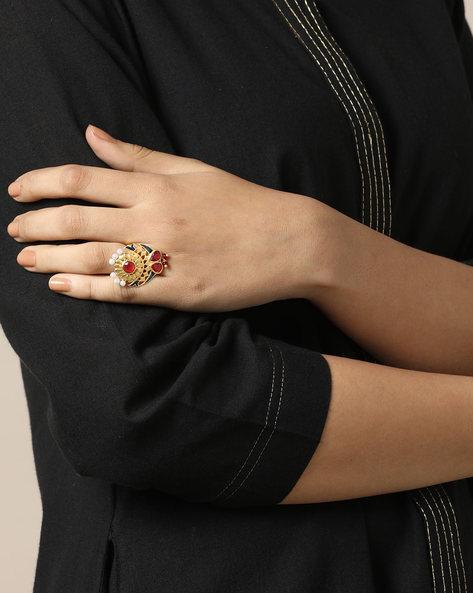 Matte Finish Brass Enamel Polki  Ring By Indie Picks ( Multi ) - 460161710001