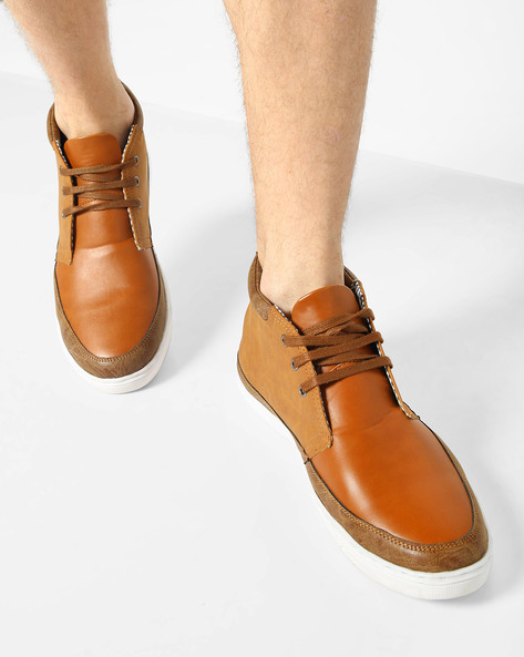 Mid-Top N9-Treated Lace-Up Sneakers By AJIO ( Brown )