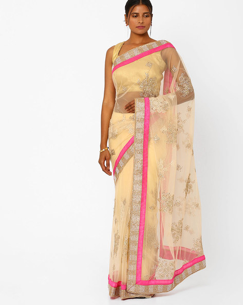 Net Designer Saree With Zari Work By RCPC ( Champagne )