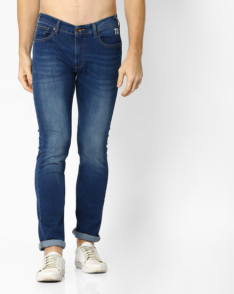 Lightly Washed Slim Fit Jeans By Pepe Jeans ( Blue )