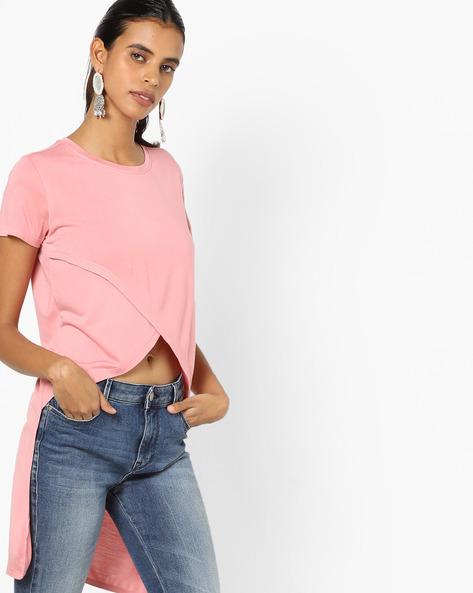 High-Low Top With Envelope Hem By AJIO ( Pink )