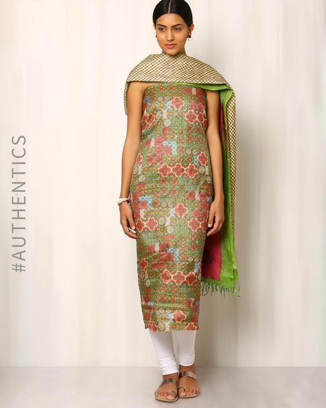 Printed Pure Tussar Silk Kurta Fabric With Dupatta By Indie Picks ( Multi ) - 460016519001