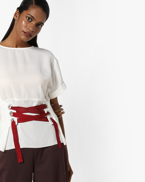 Top With Lace-Up Waist By Sassafras ( Offwhite )