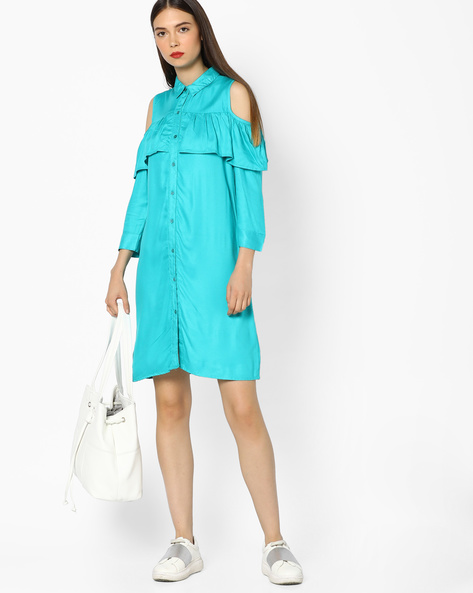 Ruffled Shirt Dress With Cold-Shoulder Sleeves By AJIO ( Teal )