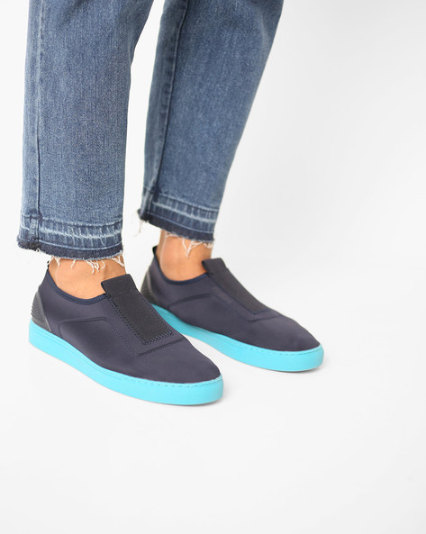 Slip-On Sneakers With Reinforced Heel Collar By AJIO ( Blue )