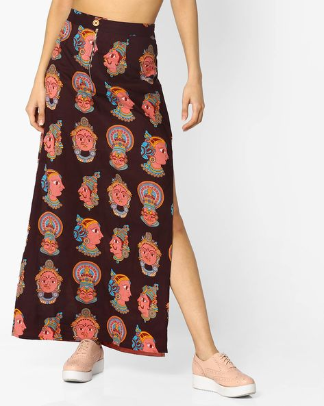 Printed Skirt With Side Slit By Desi Weaves ( Maroon )