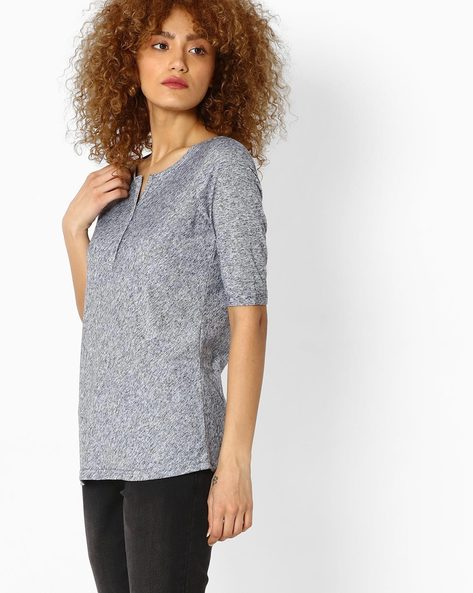 Top With Upturned Sleeve Hems By Fame Forever By Lifestyle ( Navy )