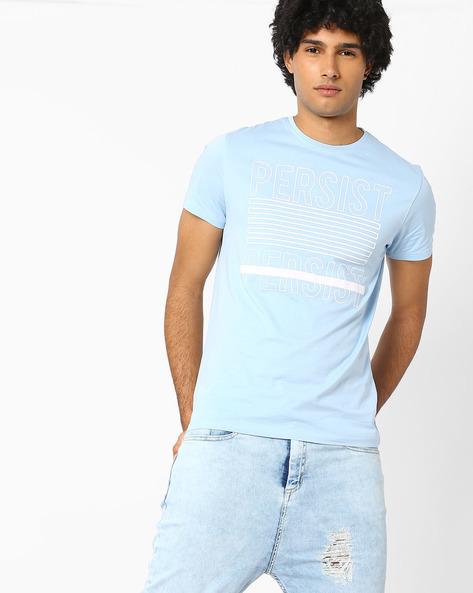 Graphic Print Slim T-shirt By AJIO ( Blue )