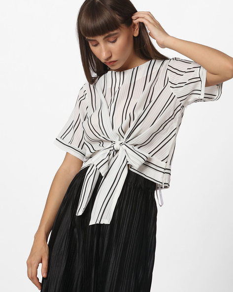 Striped Tie-Front Top By Ginger By Lifestyle ( Offwhite )
