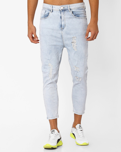 Heavily Distressed Cropped Jeans By ADAMO LONDON ( Lightblue )