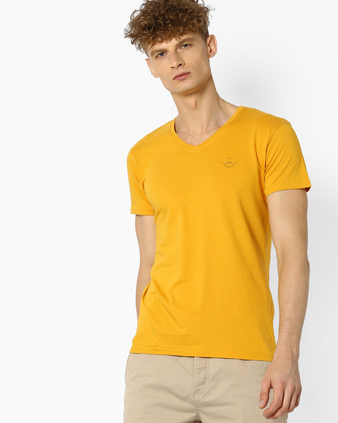 V-neck Cotton T-shirt By WRANGLER ( Yellow )