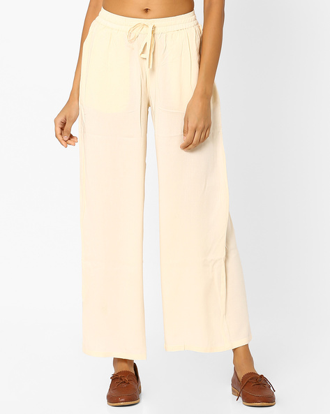 Palazzo Pants With Drawstring By AJIO ( Offwhite )