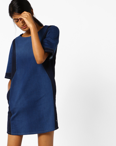 Slim Fit Shift Dress With Contrast Side Panels By Lee ( Blue )