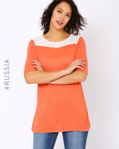 High-Low T-shirt By Kira Plastinina ( Coral )