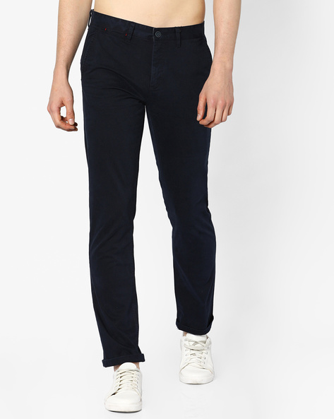 Mid-Rise Slim Fit Trousers By AJIO ( Navy )