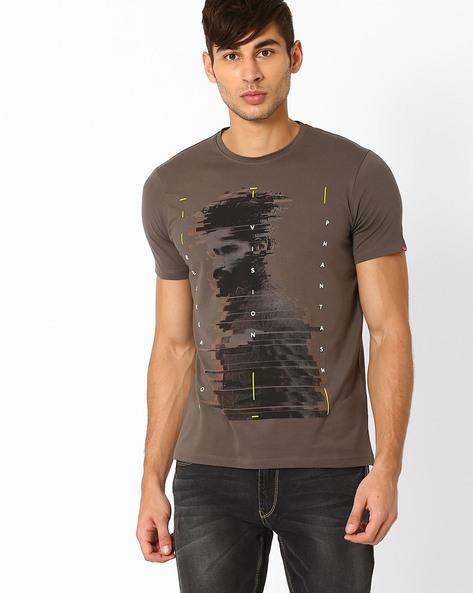 Graphic Print Slim Fit T-shirt By SPYKAR ( Grey )