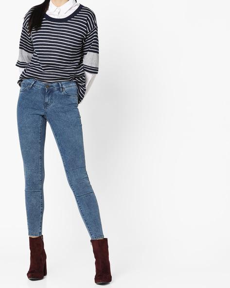 Ankle-Length 5-Pocket Jeans By Vero Moda ( Fuschiablue )