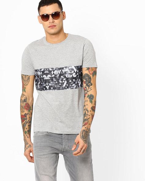 Geometric Print Cut & Sew T-shirt By AJIO ( Greymelange )