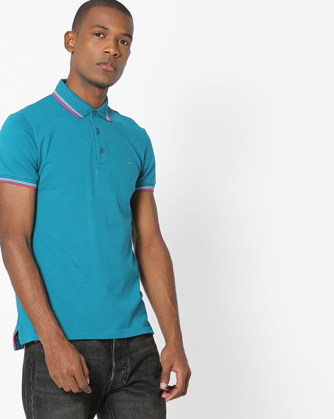 Polo T-shirt With Contrast Tipping By UNITED COLORS OF BENETTON ( Darkgreen )