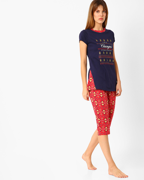 Printed Cotton Lounge Set By Sweet Dreams ( Navyblue )