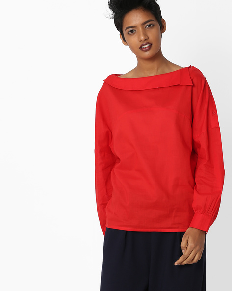 Top With Overlay Neckline By Rena Love ( Red )