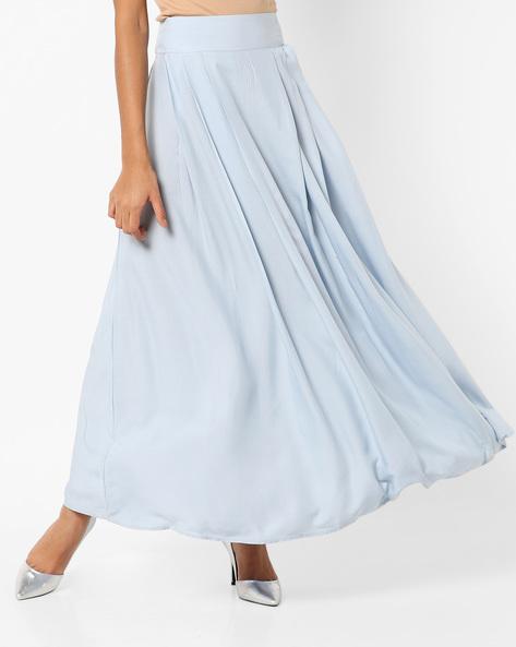 Pleated Maxi Skirt By AJIO ( Lightblue )