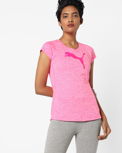 Printed Heathered Crew-Neck T-shirt By Puma ( Pink )