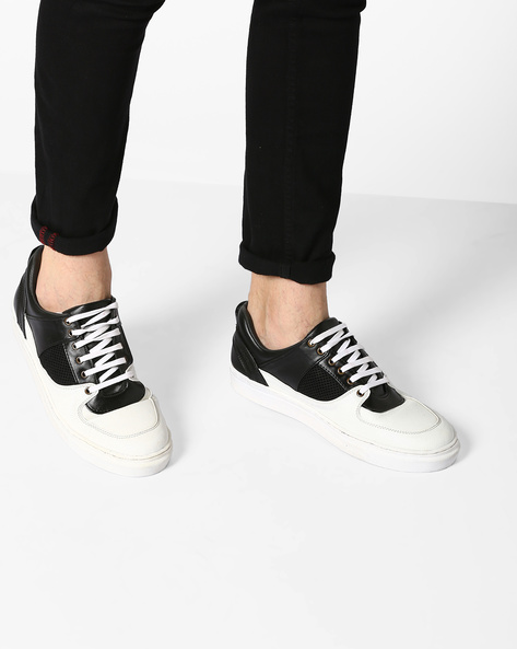 Colourblock Sneakers With Mesh Panel By TURN ( Blackwhite )