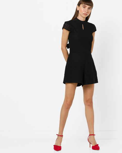 Playsuit With Back Cut-Out And Tie-Up By AJIO ( Black )